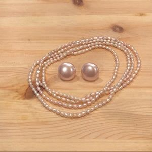 light pink 80s earring and necklace set